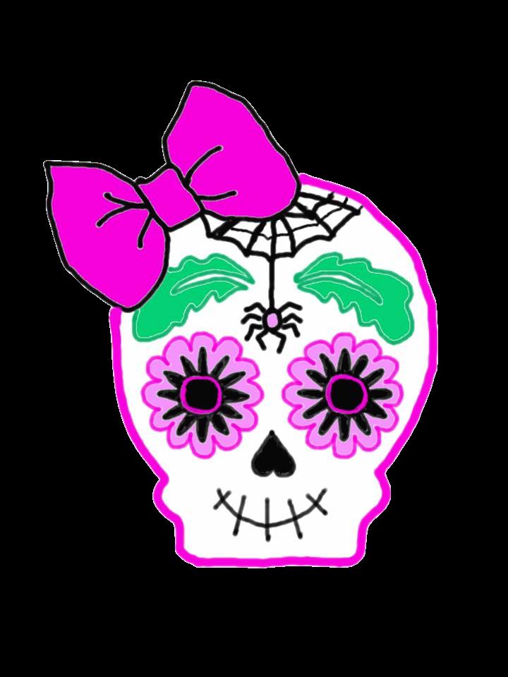 Pink clipart halloween. Skull graphic cute sugar
