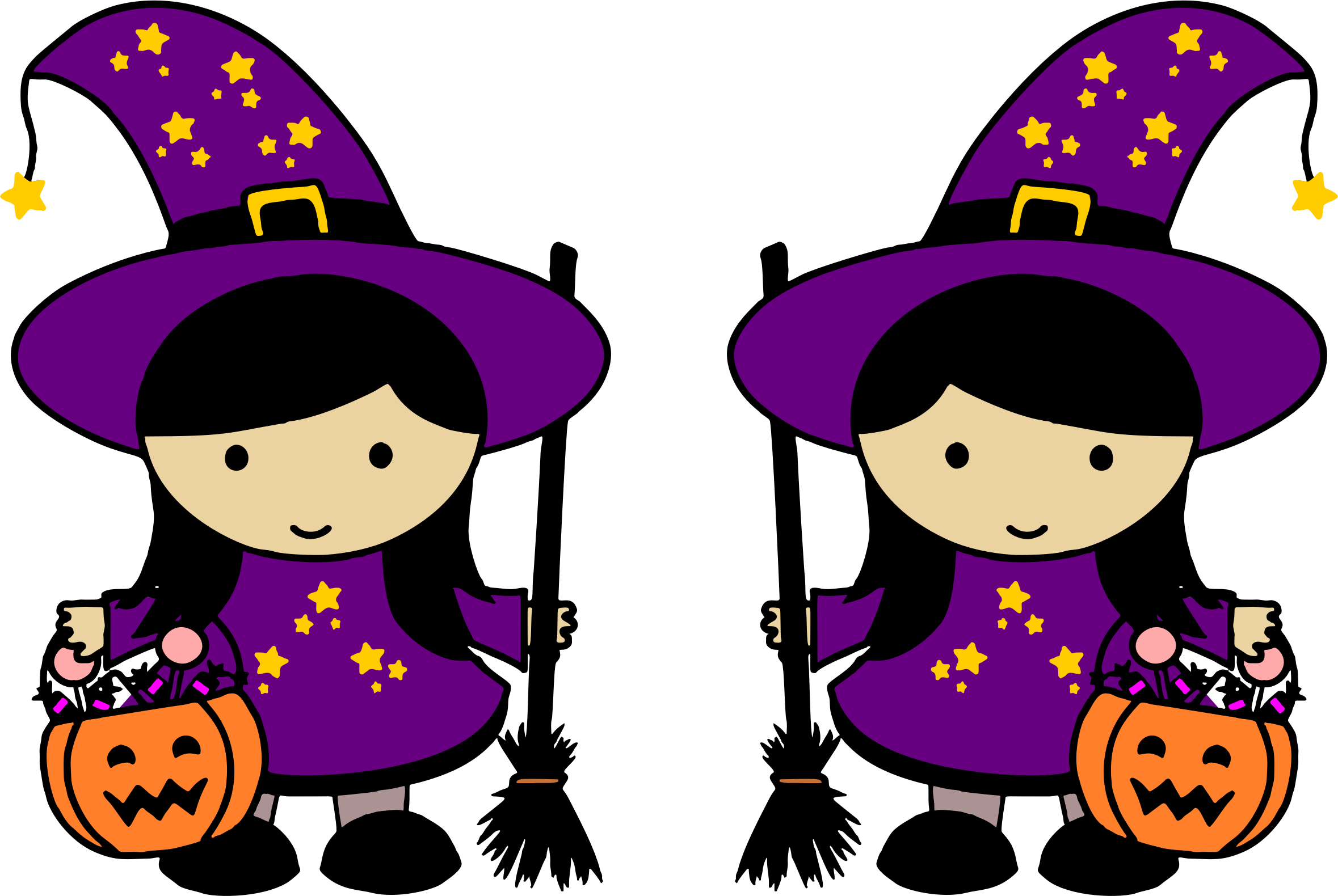 Twin halloween witches big. Witch clipart witchcraft