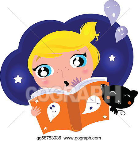 Eps vector little child. Clipart halloween reading