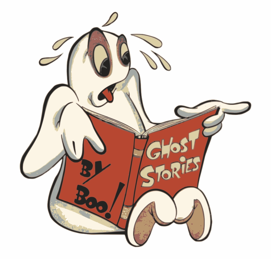 Free ghost a book. Clipart halloween reading