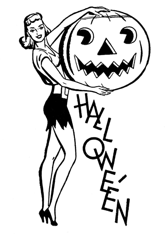 Halloween clipart retro. Clip art pretty lady