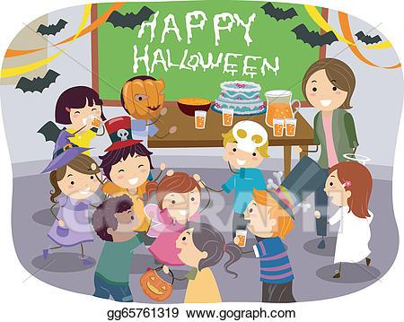 Vector art stickman kids. Clipart halloween school