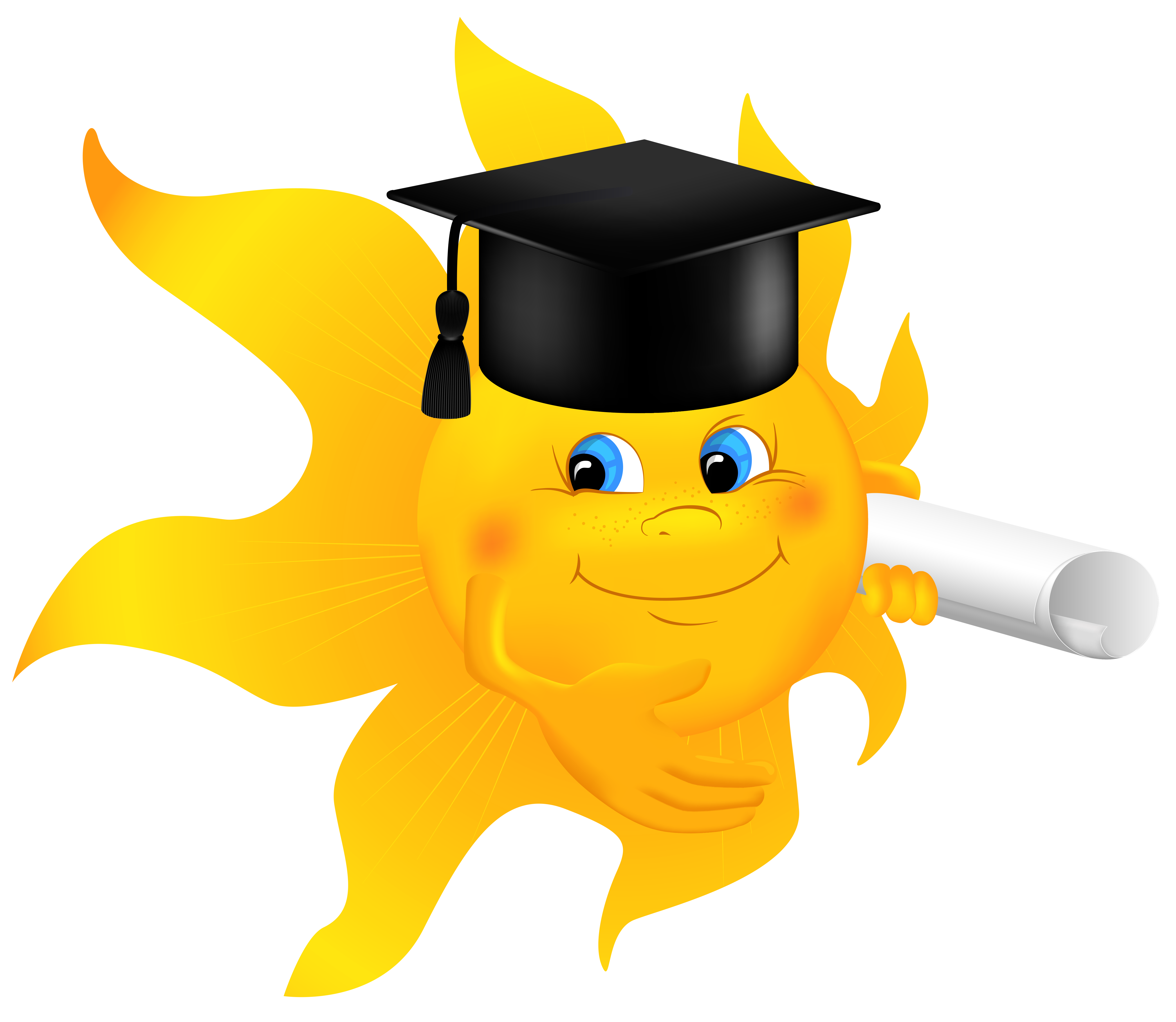 Sun with diploma png. Clipart halloween school