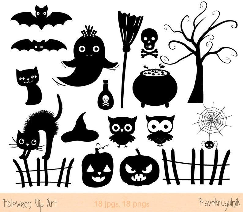 Clipart halloween silhouette. Clip art set cat