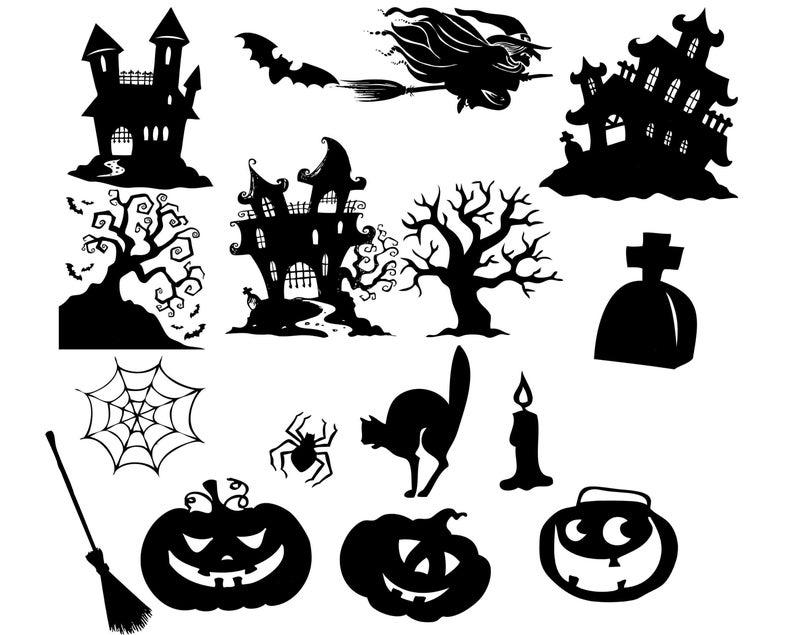 Clip art web spooky. Clipart halloween silhouette