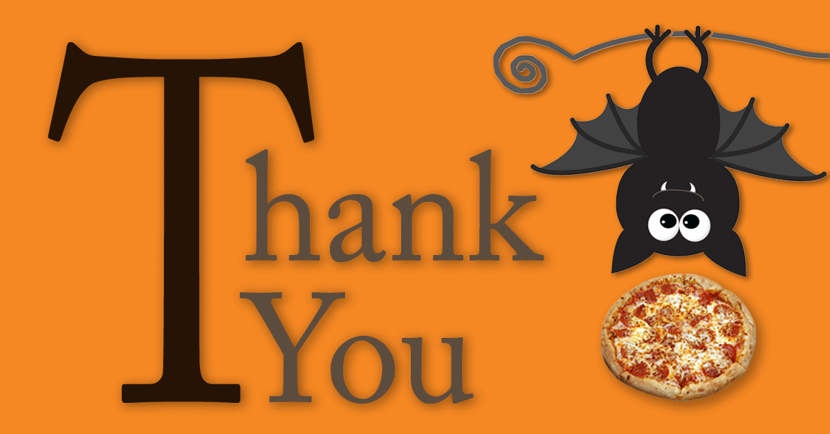 Clipart halloween thank you. Big party yous pizza