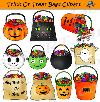 Trick or bags candy. Clipart halloween treat