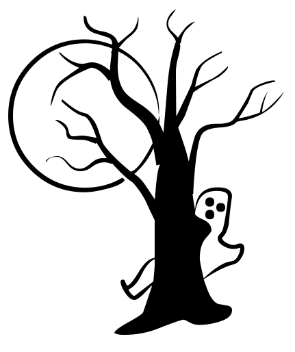Tree clipart halloween. Ghost moon silhouettes