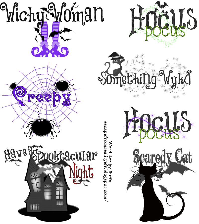 Clipart halloween watercolor. Ftu word art by