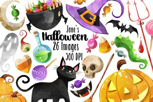 By digitalartsi on . Clipart halloween watercolor