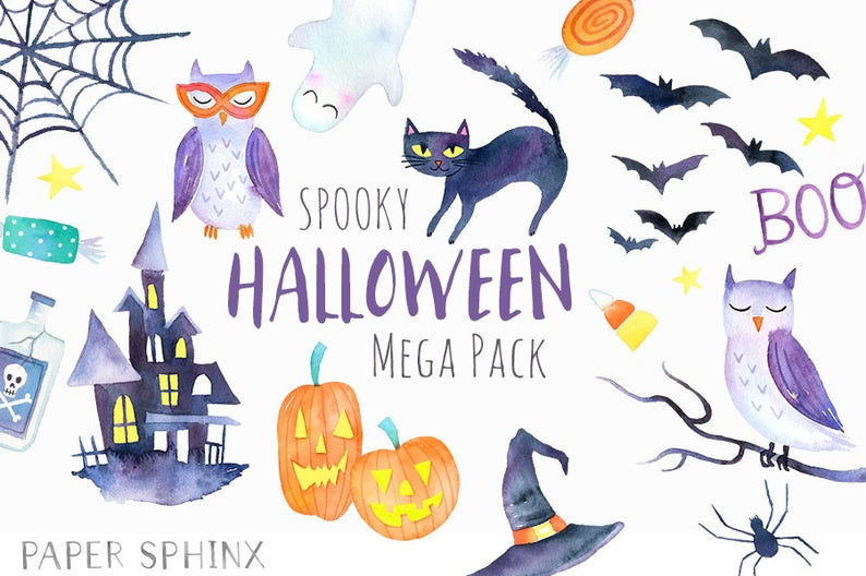 Spooky party clip art. Clipart halloween watercolor