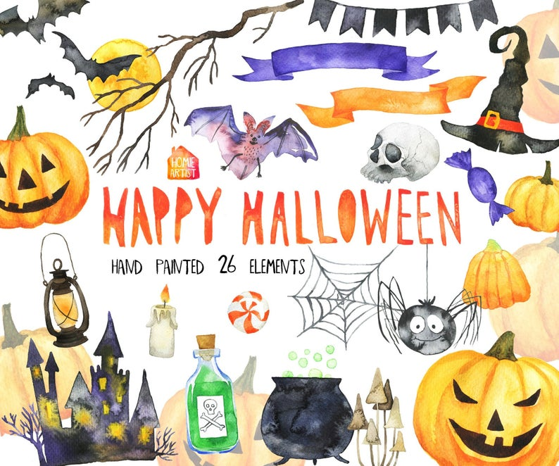 Clipart halloween watercolor. Fall clip art bats