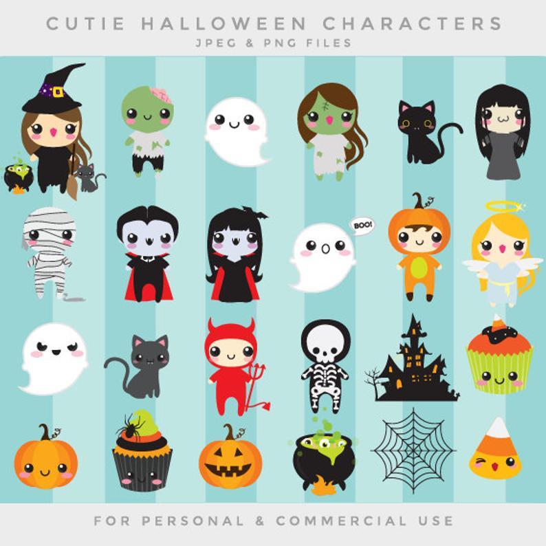 Cute clip art kawaii. Clipart halloween whimsical