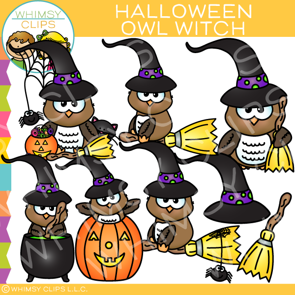 Owl witch clip art. Clipart halloween whimsical