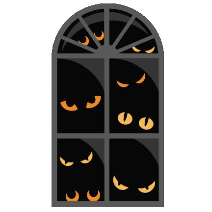 Svg scrapbook cut file. Clipart halloween window