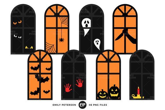 Clip art windows silhouette. Clipart halloween window