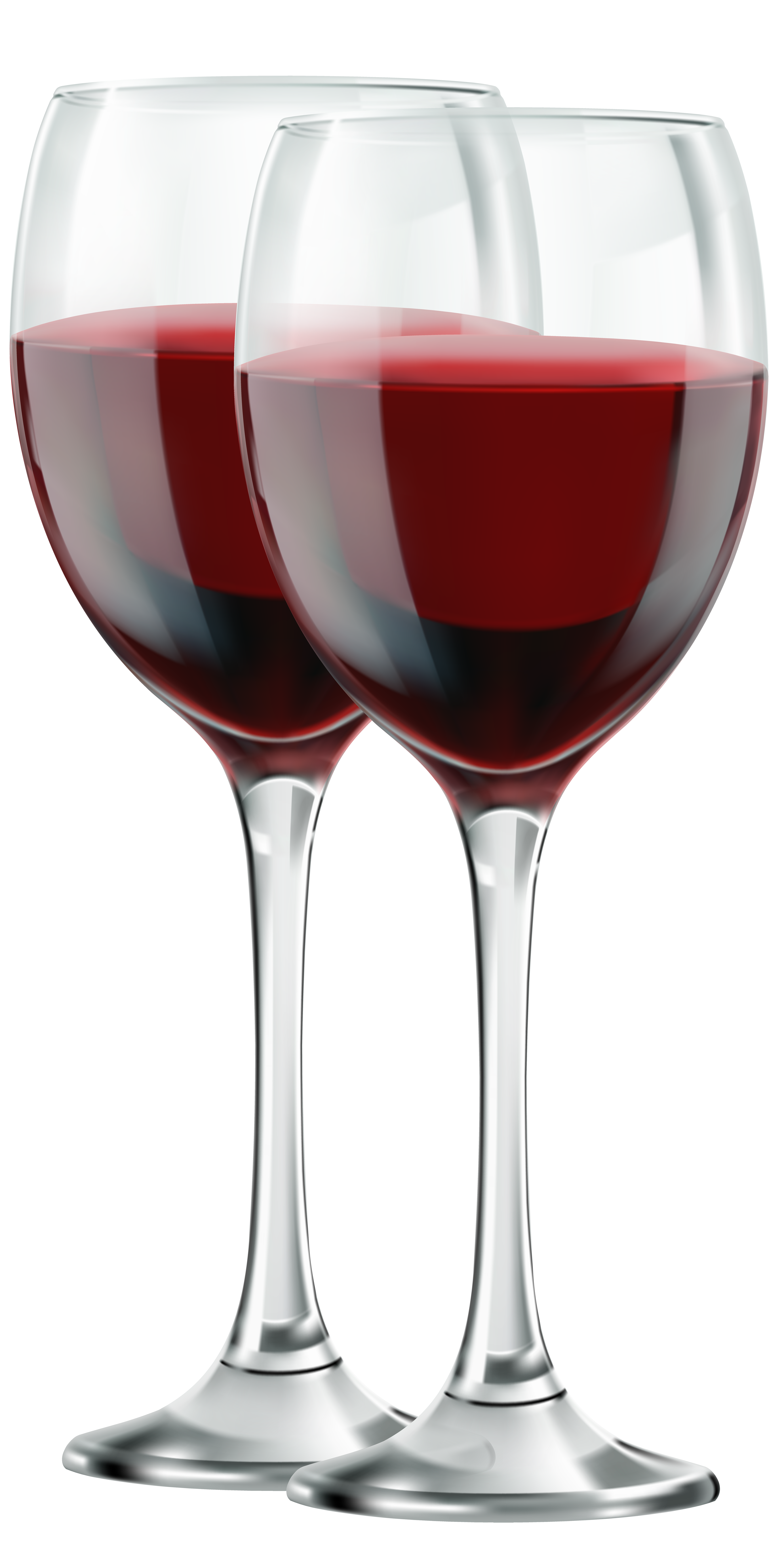 Two glasses of red. Hearts clipart wine
