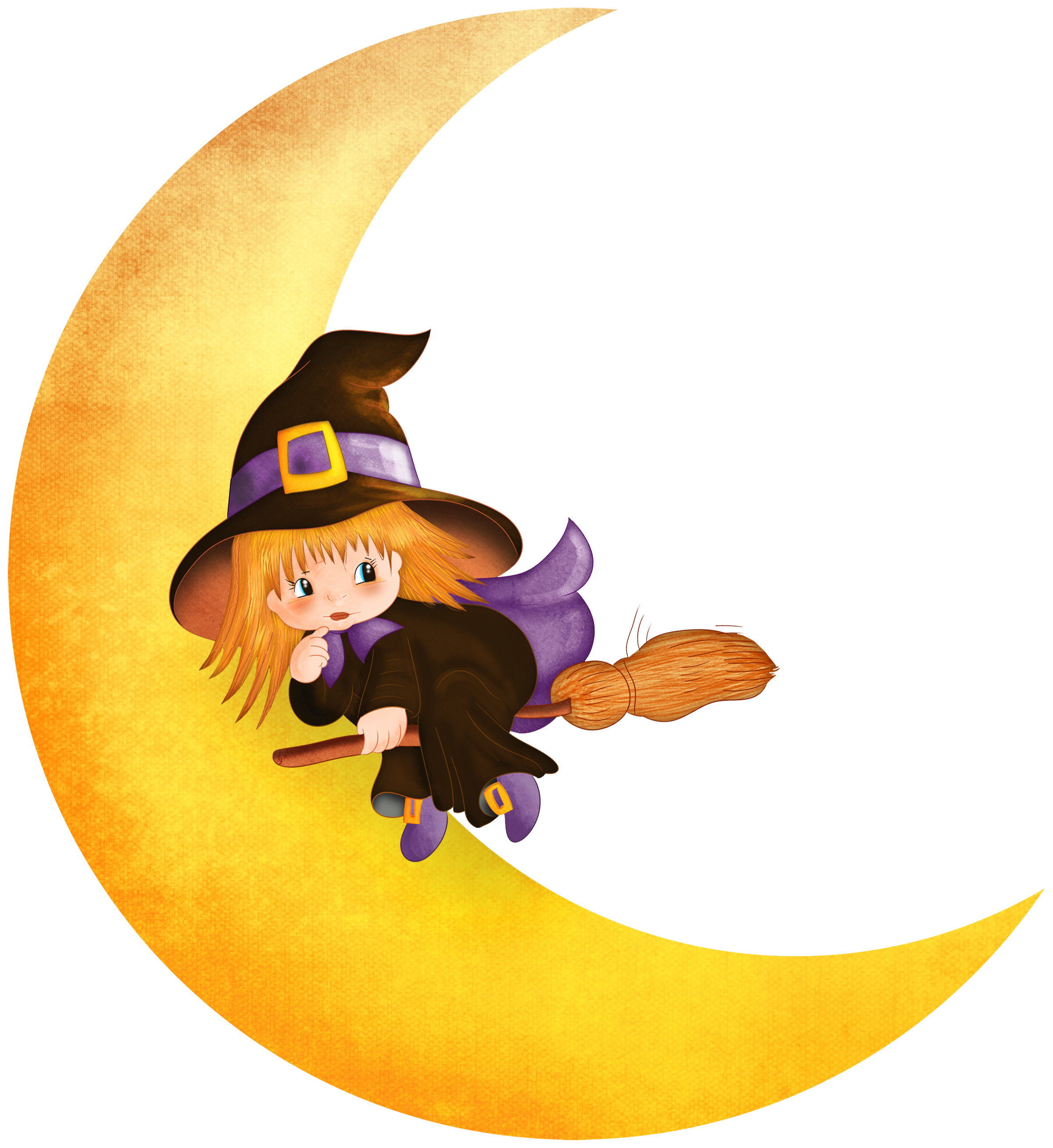 Halloween witch on the. Moon clipart kid png