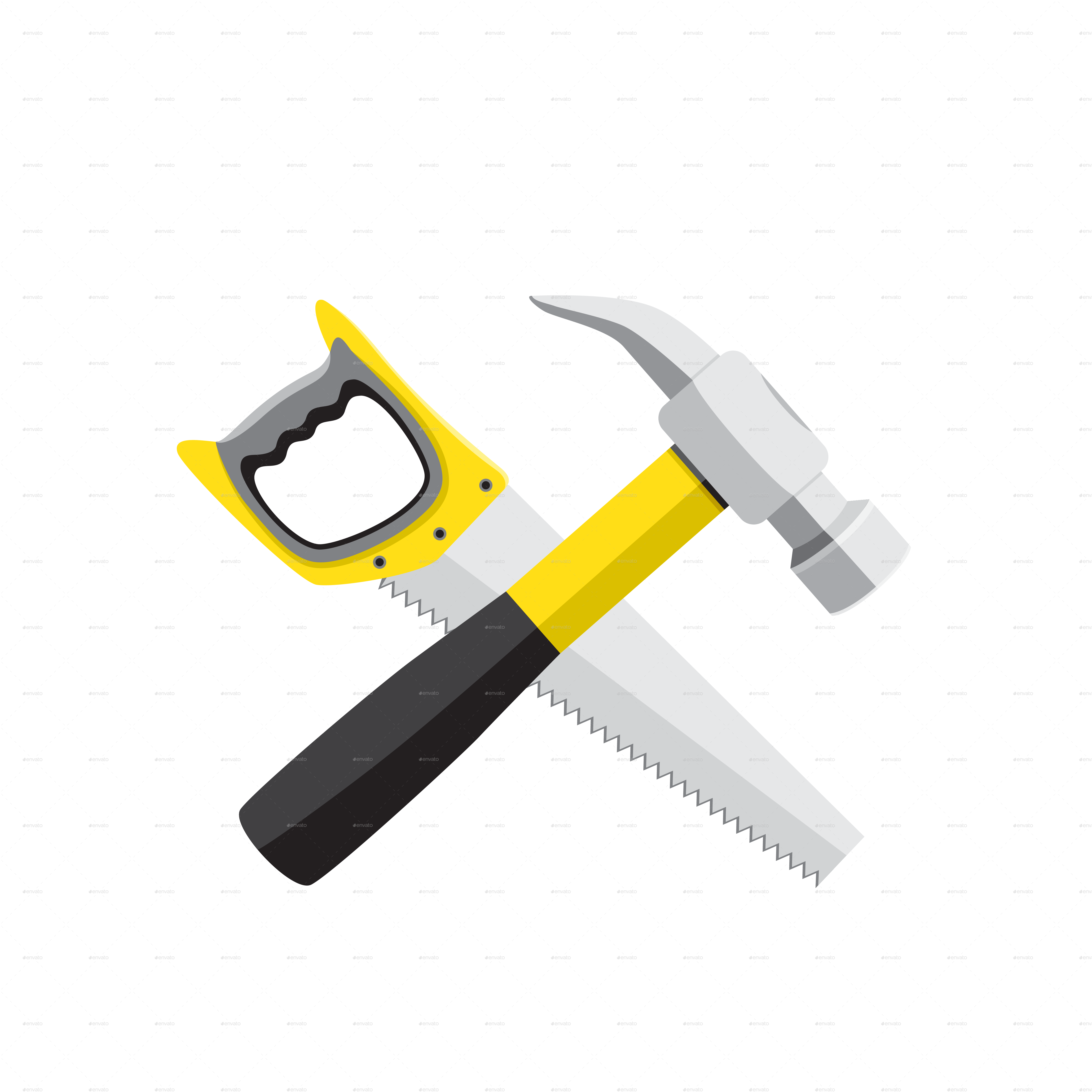 Hand saw silhouette at. Tool clipart claw hammer