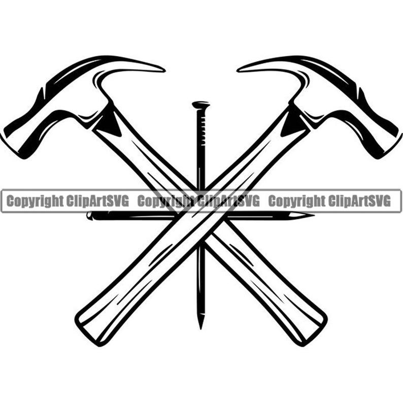 Woodworking logo nail crossed. Clipart hammer carpentry tool