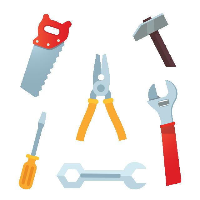 Clipart hammer carpentry tool. Flat carpenter tools png