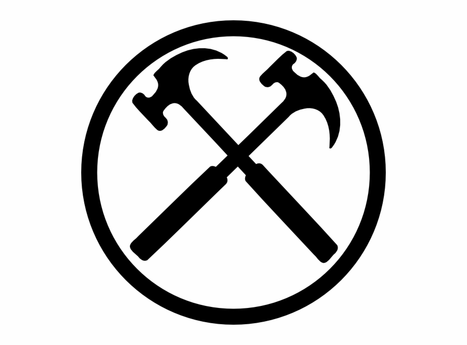 Clipart hammer crossed. Hammers bw clip art