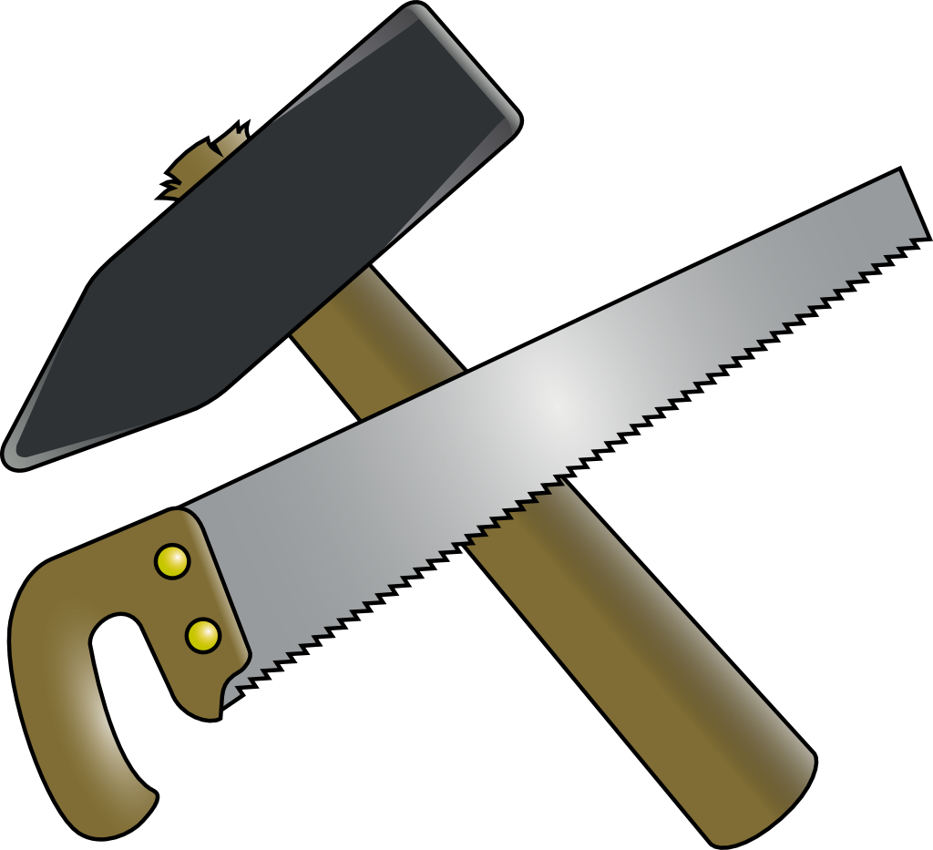 Clipart hammer crossed. And saw by fuzi