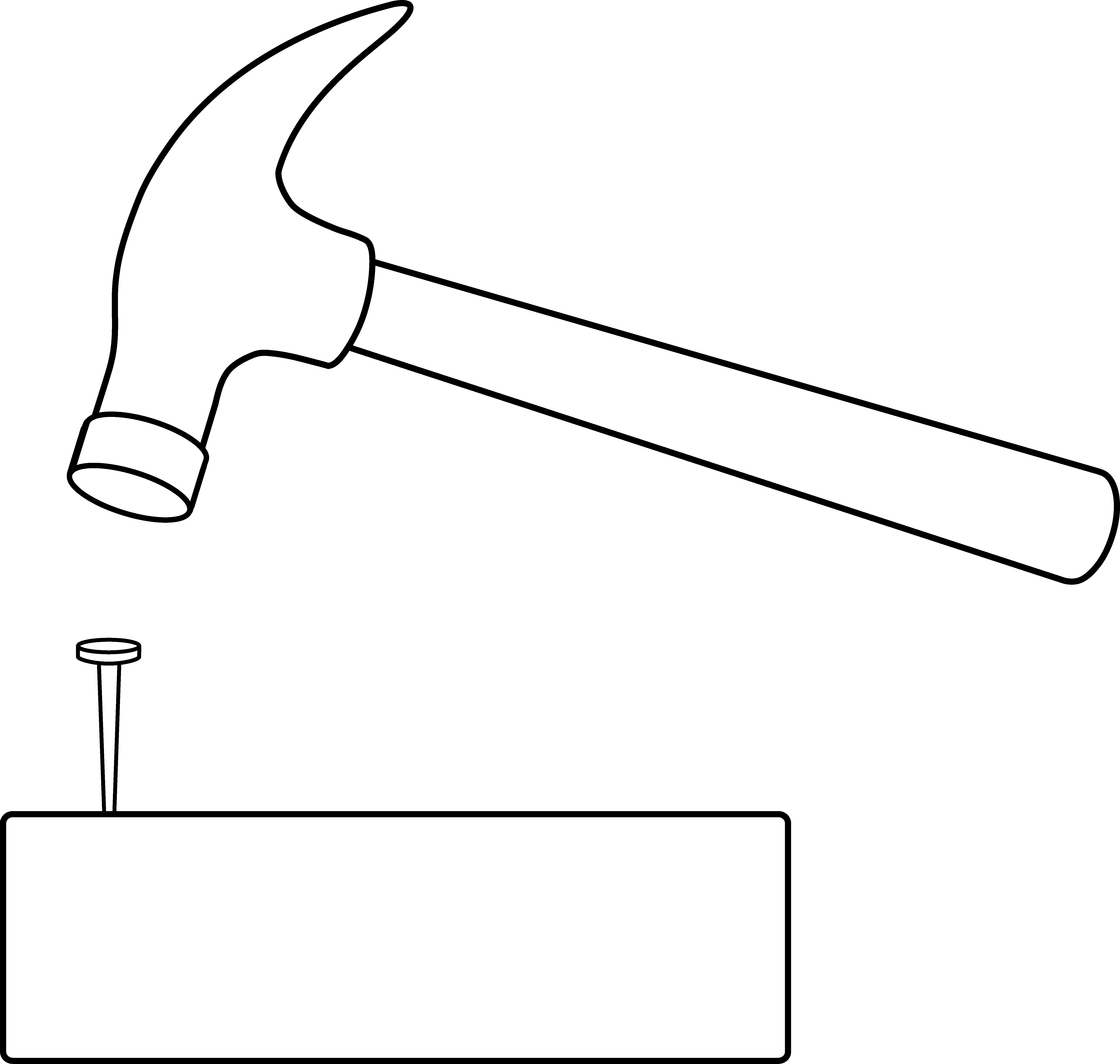 Nails clipart wood clipart. Hammer and nail outline