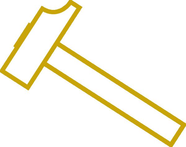 Golden clip art at. Hammer clipart gold