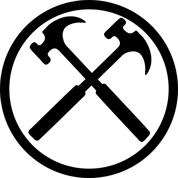 Crossed hammers bw x. Clipart hammer h be for