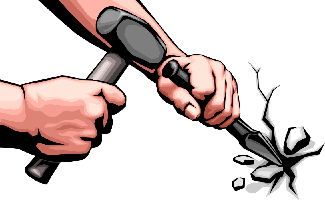 Clipart hammer hammer chisel. Hands with sledgehammer and