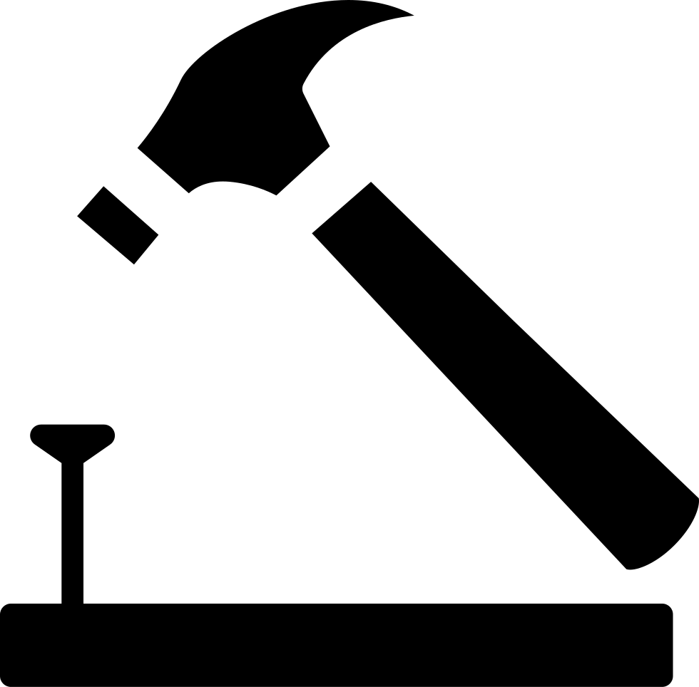 Nail clipart small hammer. And on wood outline