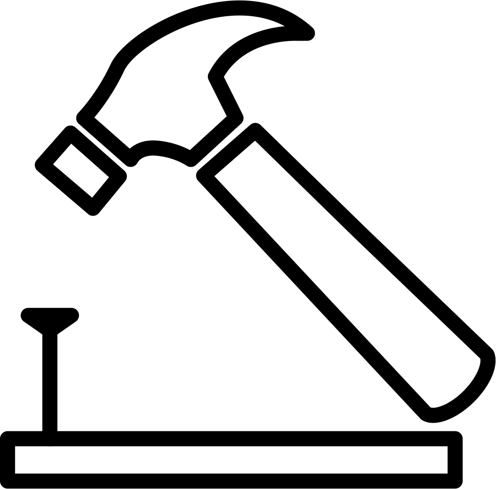 And on wood outline. Nail clipart small hammer
