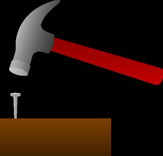 Clipart hammer hammer wood. Hammering nail into free
