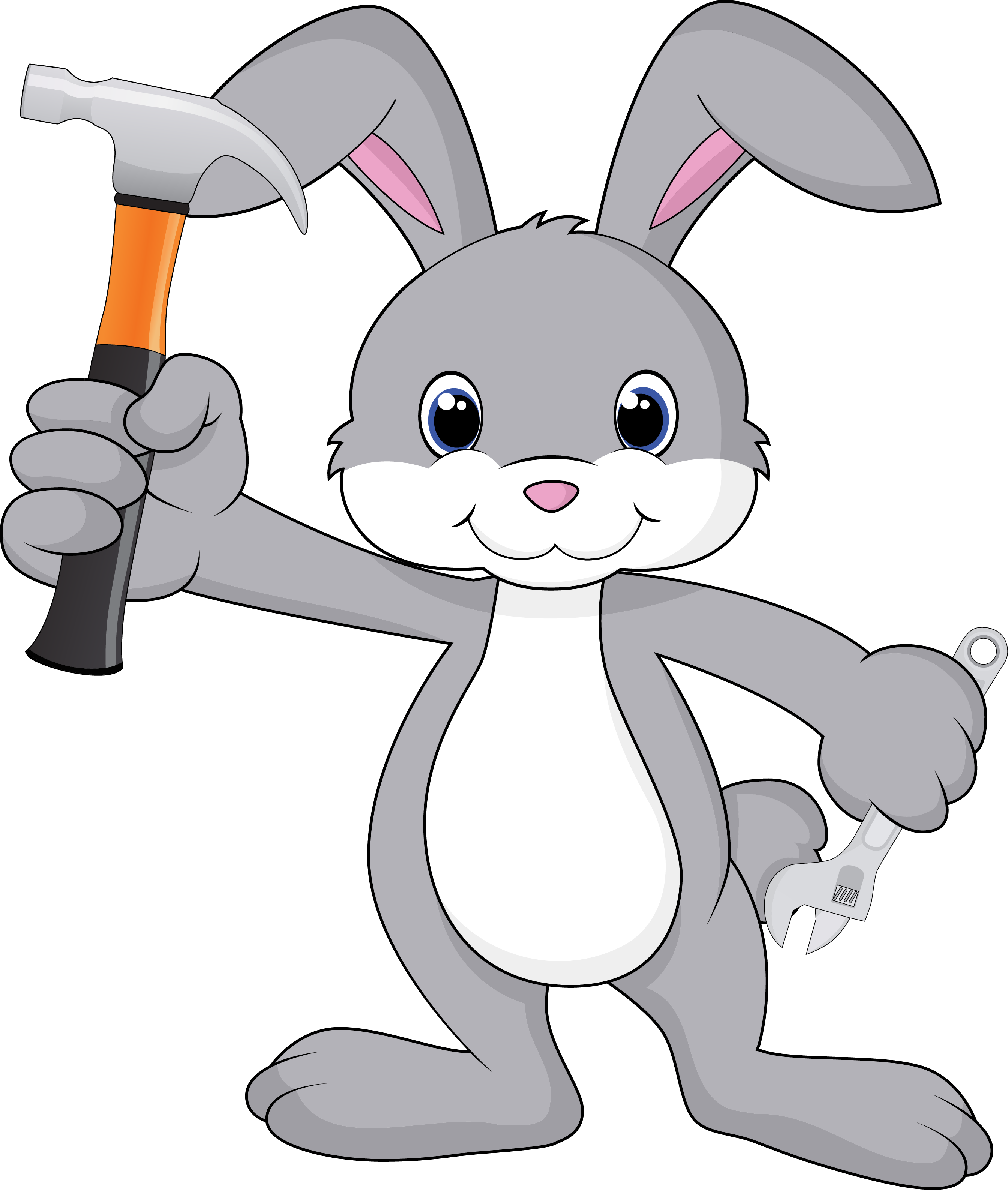 Clipart hammer hammer wrench. Cartoon bunny with and
