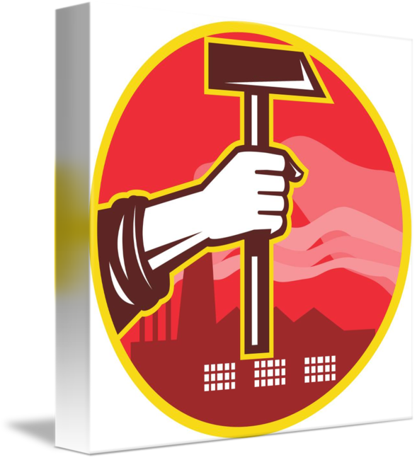 Clipart hammer hand holding. Factory retro by aloysius