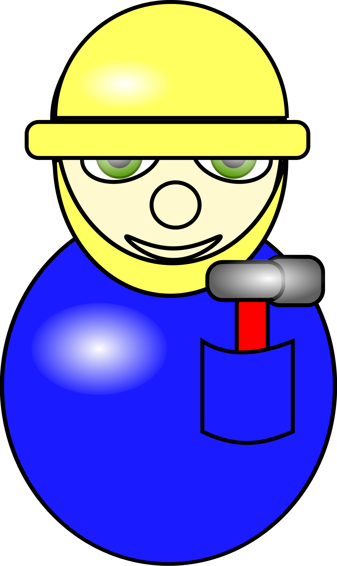 Electrician clipart hard hat worker. Construction cartoon in blue