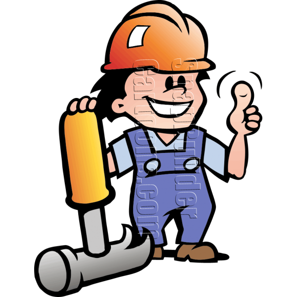 Mechanic man with hat. Clipart hammer hard thing