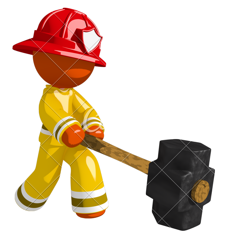 Clipart hammer hard thing. Orange man firefighter hitting
