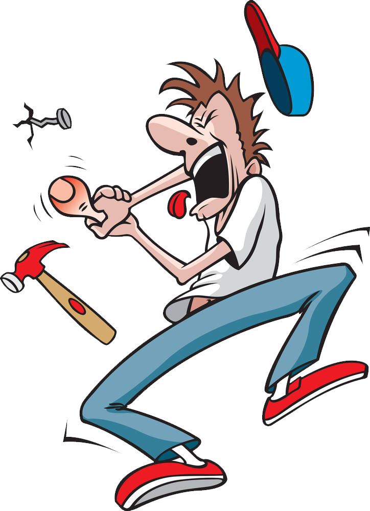 Cartoon drawing be hit. Clipart hammer illustration