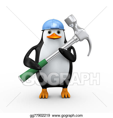 Clipart hammer large. Drawing d penguin holding