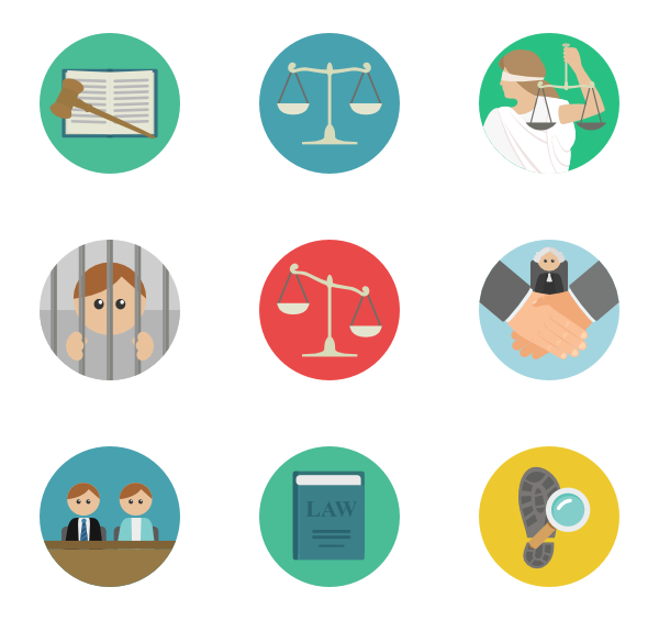 Professional clipart lawyer. Law icons free vector
