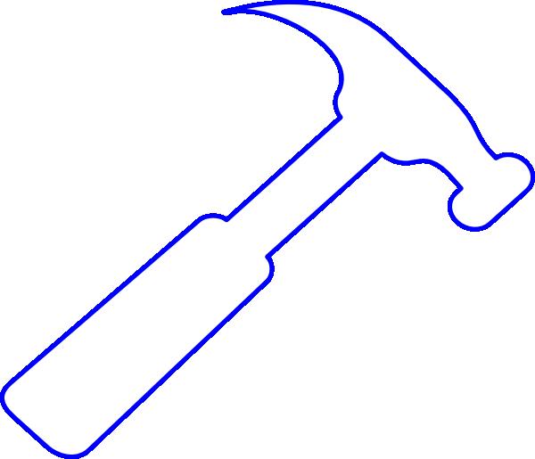 Paintbrush clipart hammer. Blue outline clip art