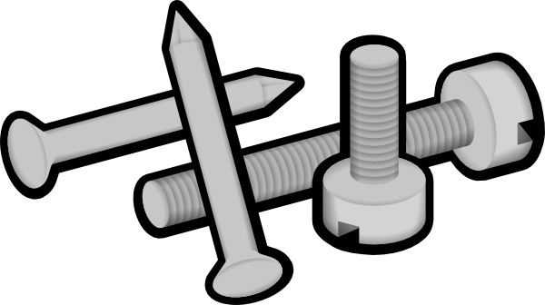 Screws and nails clip. Clipart hammer nail screw