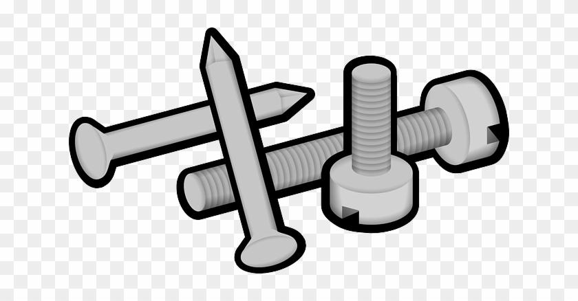 Cartoon construction metal screws. Clipart hammer nail screw