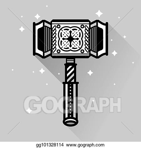 Eps vector ancient thors. Clipart hammer old hammer