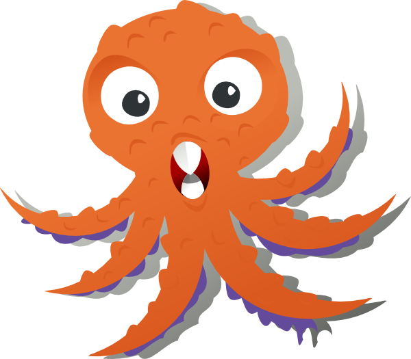 collection of octopus. Clipart hammer orange