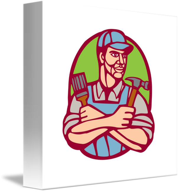 Clipart hammer paintbrush. Builder carpenter linocut by