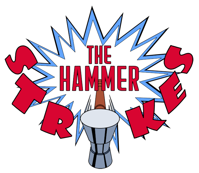 The strikes . Hammer clipart red handle