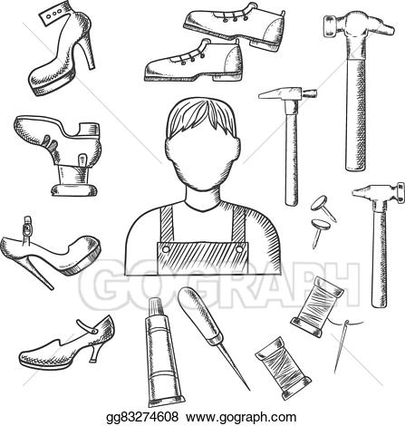 Vector art profession and. Clipart hammer shoemaker tool